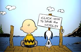 Peanuts  and Snoopy sitting on a wharf with a sign click here to save the world