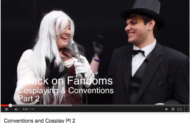 A picture of two cosplayers